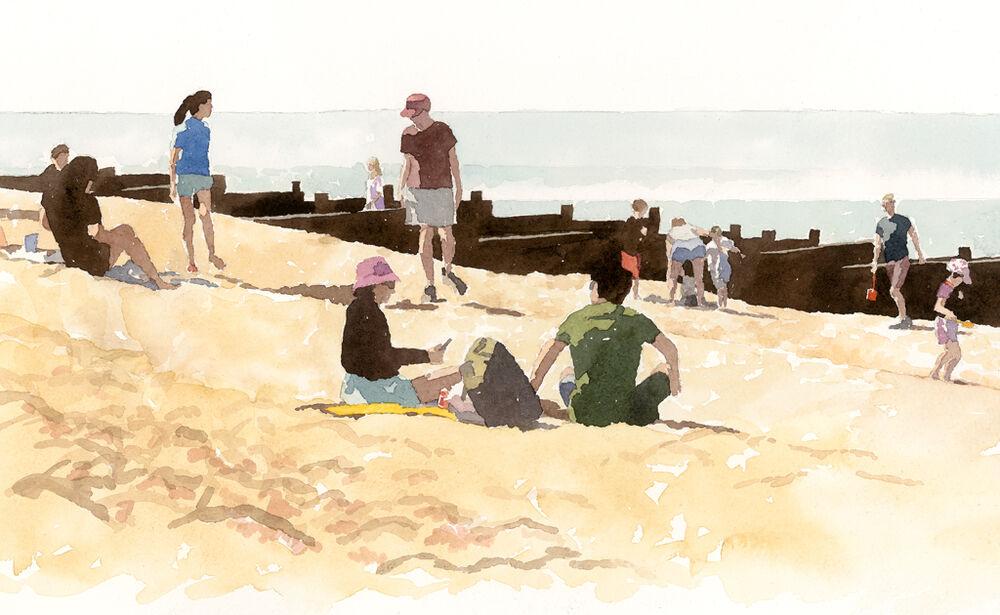 SallyBarton_WhitstableBeach_Summer2021_watercolour_figurative