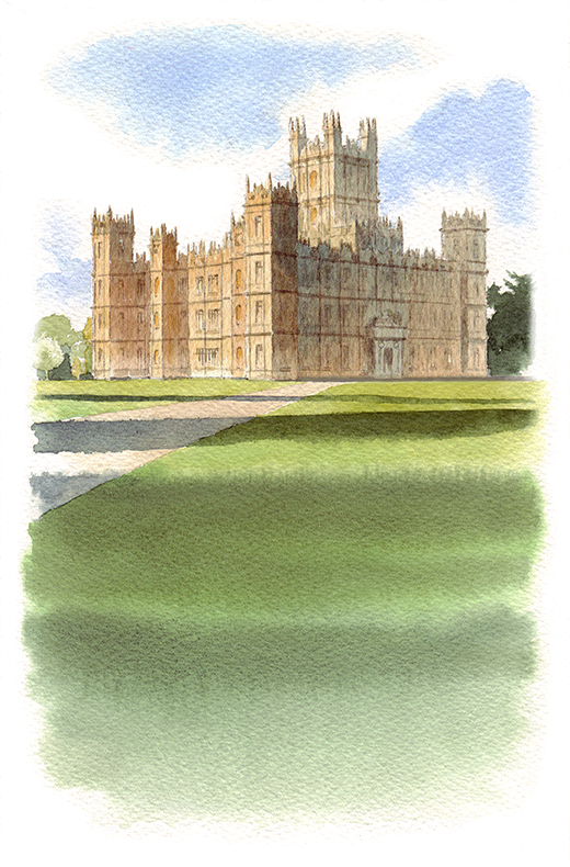 Sally Barton illustration_Highclere Castle, watercolour_Downton Abbey