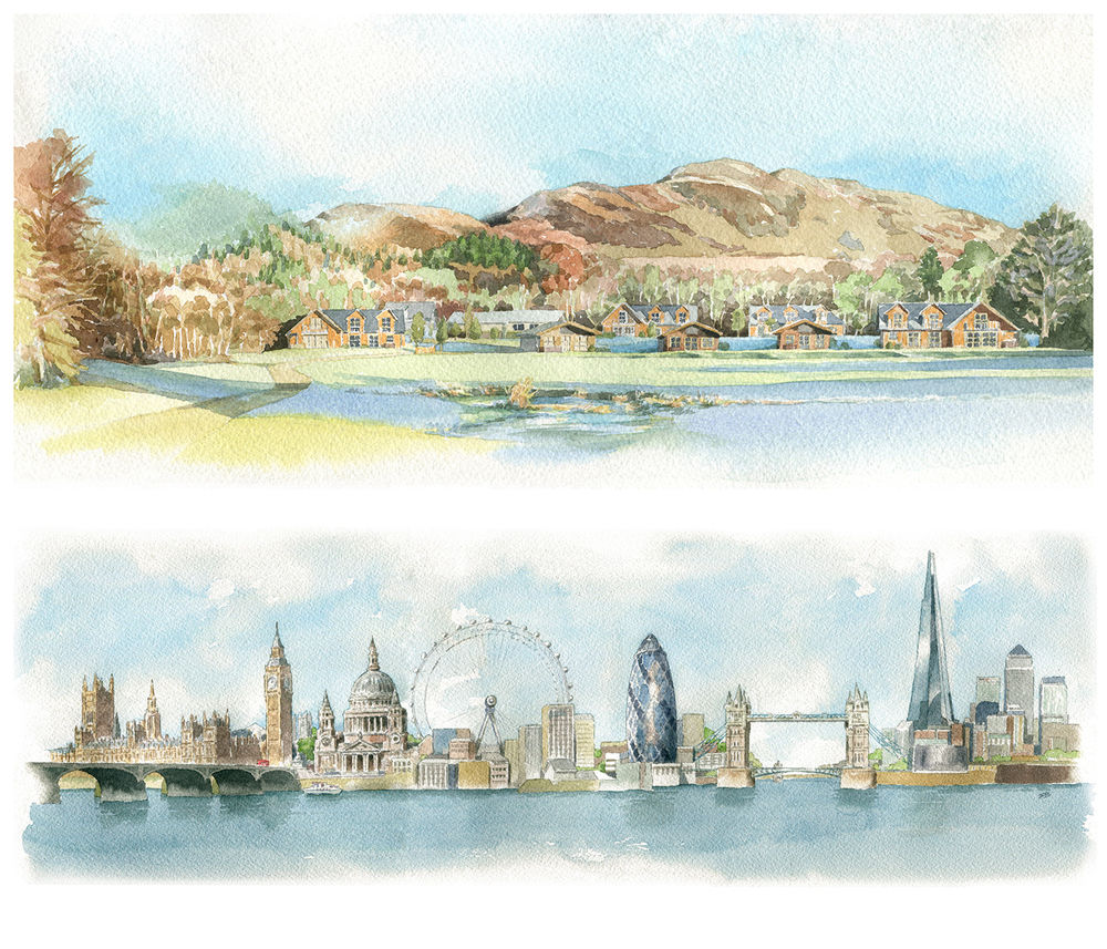 LockLomond_weddingvenue_Londonskyline_SallyBarton_watercolour
