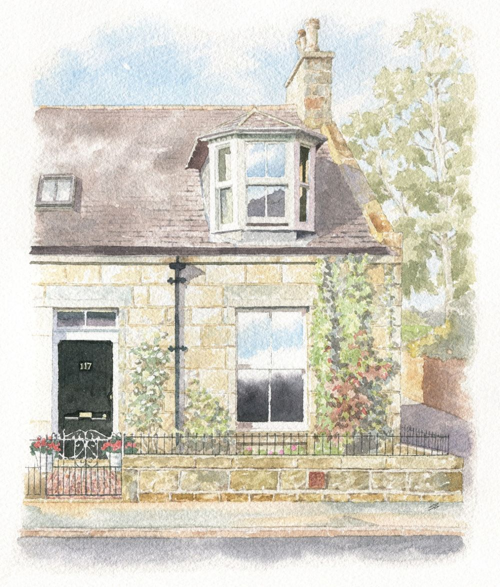 watercolour illustration_sally barton_HousePortrait_Scotland