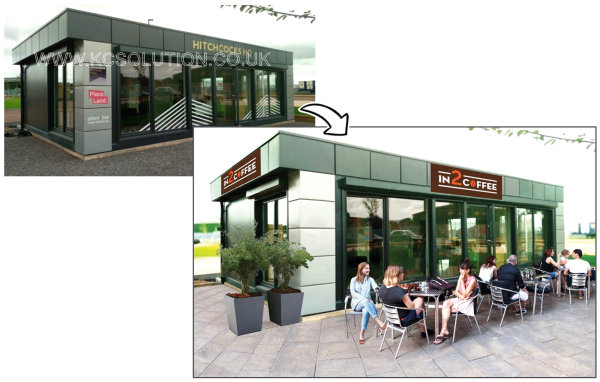 visual render for 'pop up' coffee chain