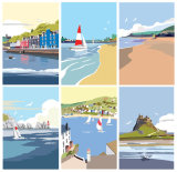 British Seaside. 1950s style illustrations