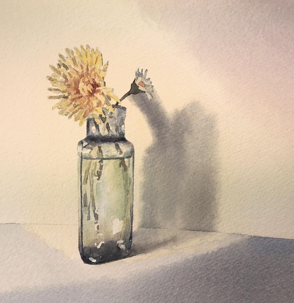 watercolour illustration_sally barton_dandelionwithbottle_stilllife