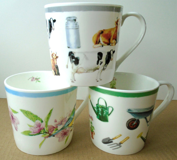 3 mugs from Waitrose's 'Dorset' range