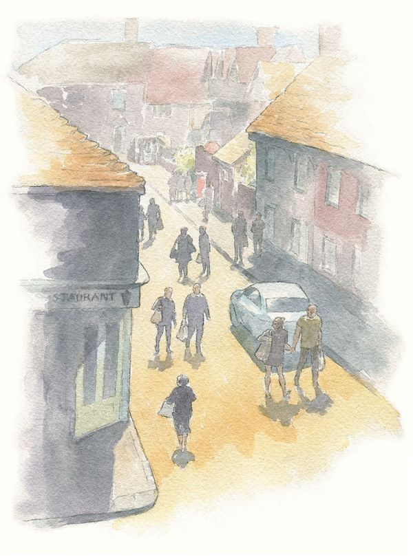 Watercolour_SallyBarton_FarmersMarket_StreetView