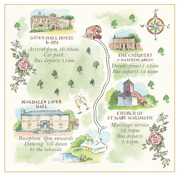 Wedding map created for Ruth Kaye Design