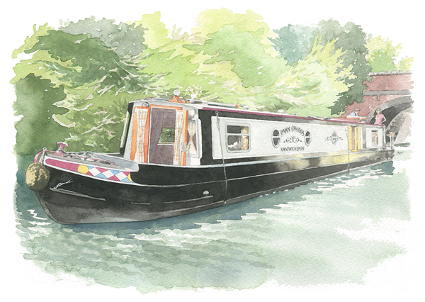houseportrait_sally barton_watercolourillustration_narrowboat