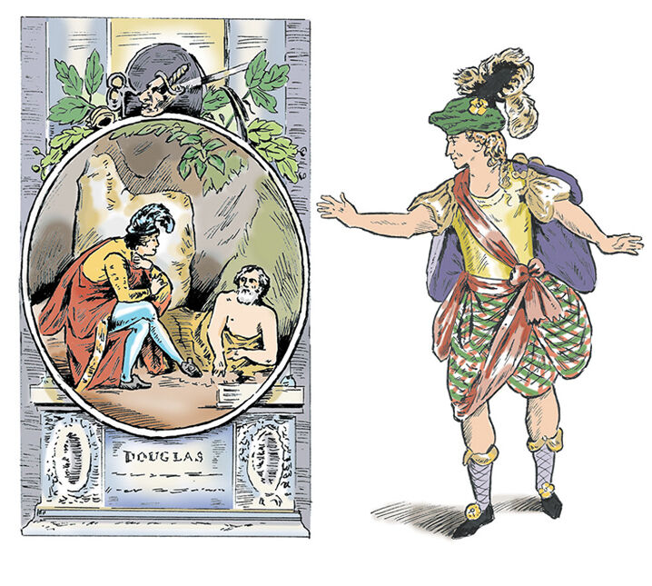TraditionalLineIllustration_dramatist_Douglas_SallyBarton_Scottishplay