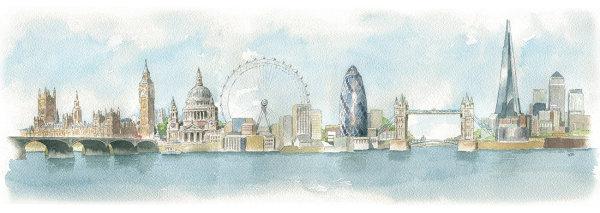Idealised London skyline