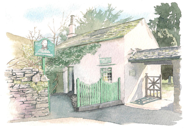 watercolour illustration_sally barton, house portrait_Grasmeregingerbread