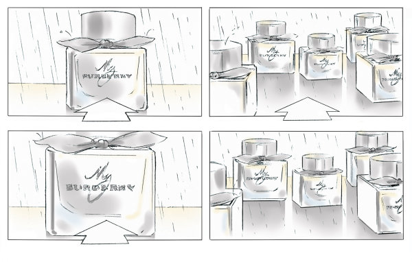 Selection from series of storyboards for 'My Burberry' fragrance