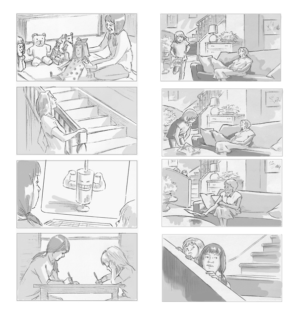 Selection of storyboards produced for Merck Ltd I