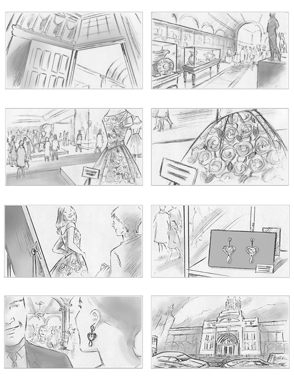 Storyboards produced for Victoria & Albert Museum pitch
