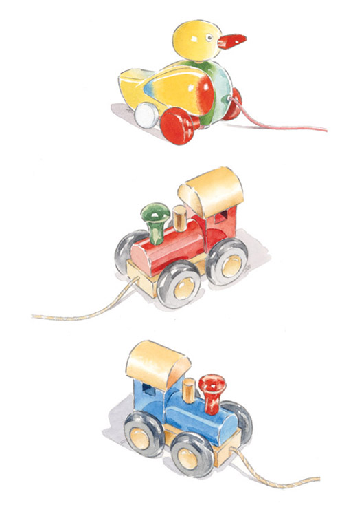 Traditional toys. Website illustrations