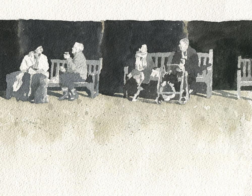 Watercolour_SallyBarton_Figures_BenchFolk_Broadstairs_tonalsketch