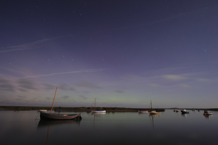 Faint Aurora Borealis or Northern Lights over Scolt Head at Overy Staithe