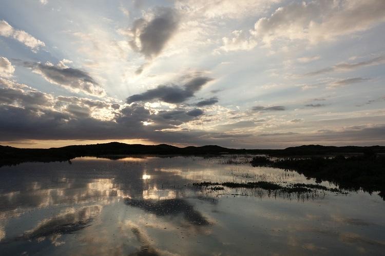 Evening light over Scolt Head Island