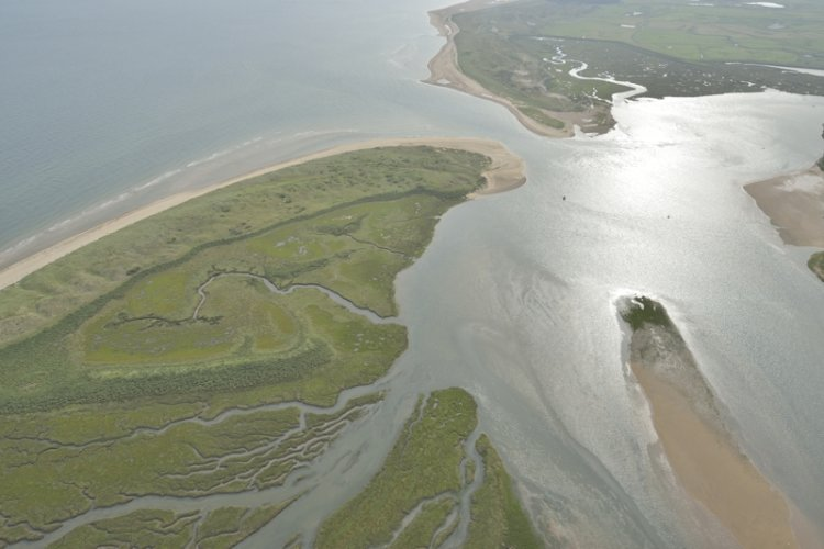 Aerial view Overy Harbour East End of Scolt and Gun Hill
