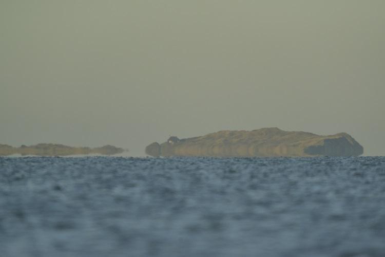 Scolt Head in Heat haze from Holkham Bay