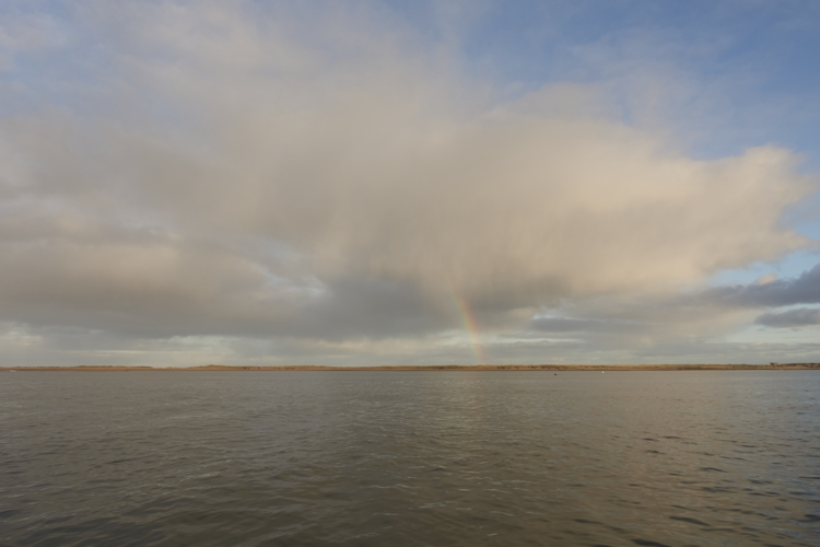 Brancaster Harbour and Rainbow over the Island