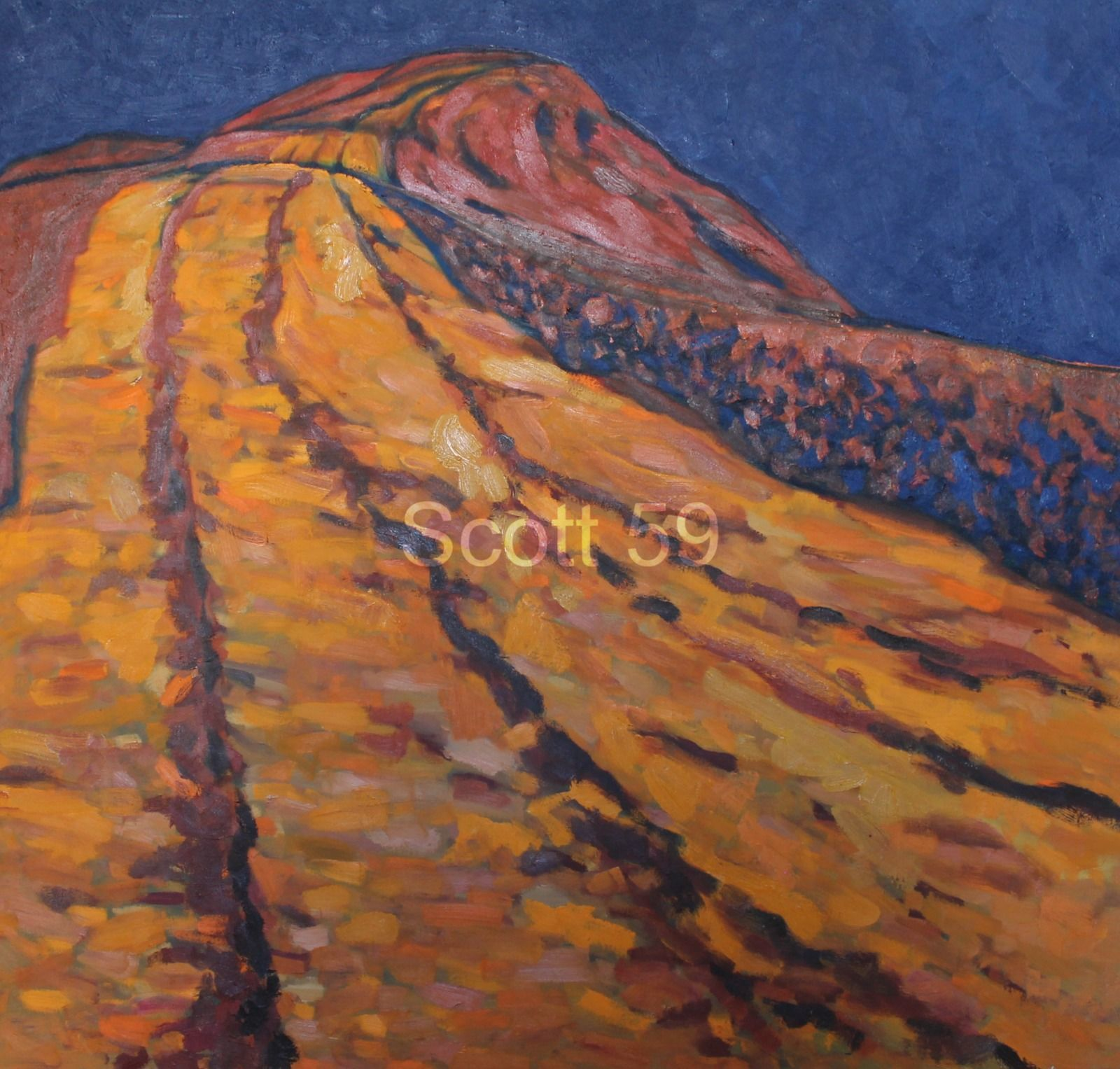 Mynydd Llangorse Orange Blue (Oil on canvas 96cm x 92cm)