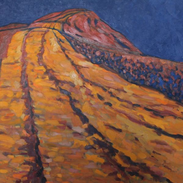 Mynydd Llangorse Orange Blue (Oil on canvas 91cm x 96cm)