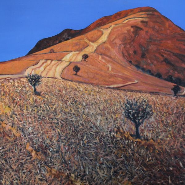 Mynydd Llangorse Ochre Blue (Oil on canvas 105cm x 101cm)