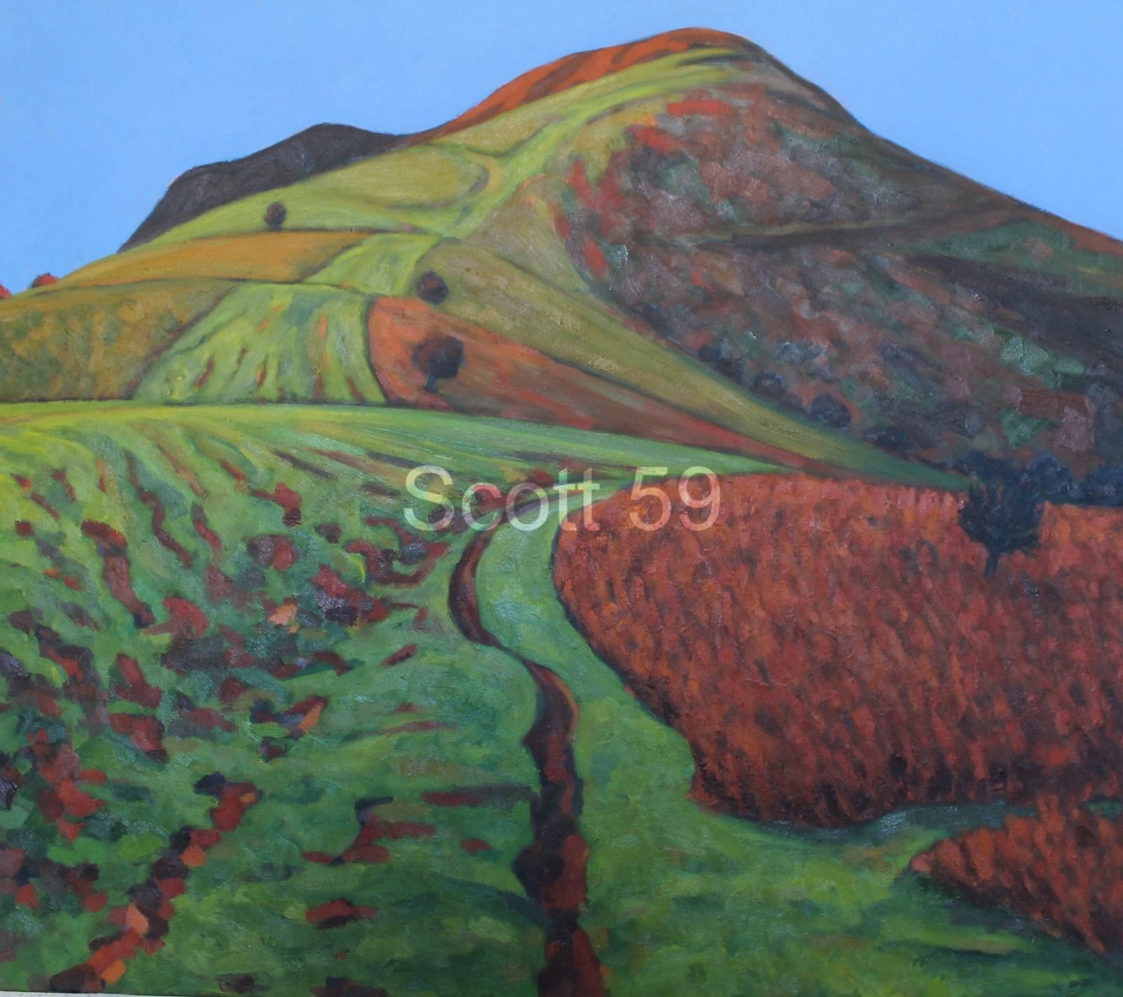 Mynydd Llangorse Green Red (Oil on canvas 105cm x 96cm)
