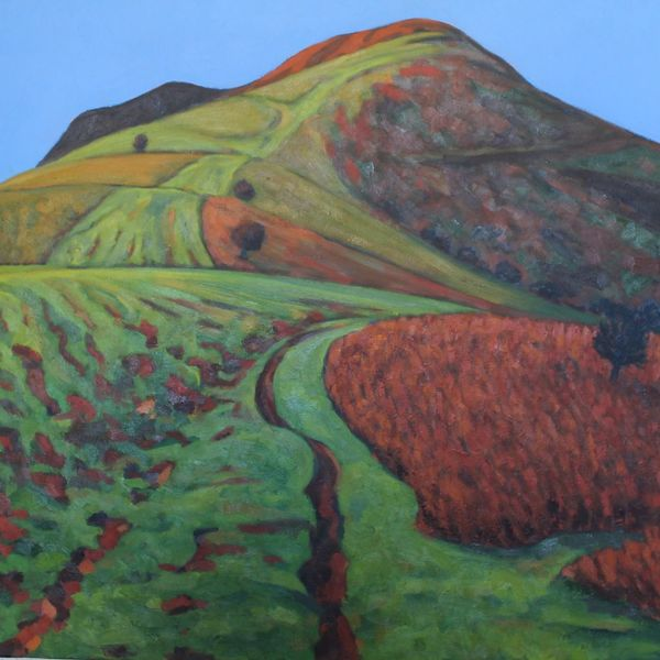 Mynydd Llangorse Green Red (Oil on canvas 96cm x 107cm)