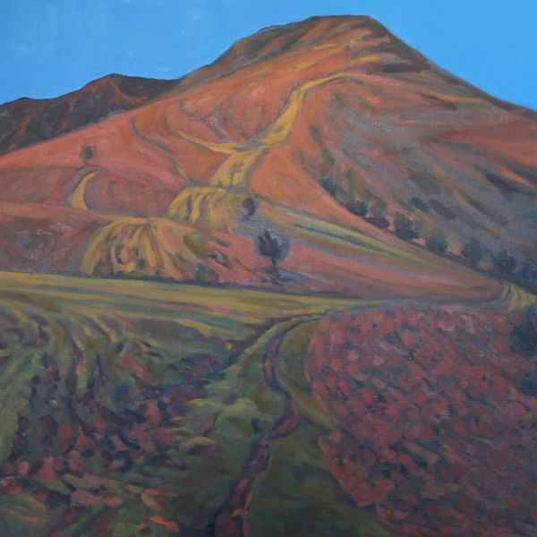 Mynydd Llangorse Red Blue (Oil on canvas 105cm x 101cm)