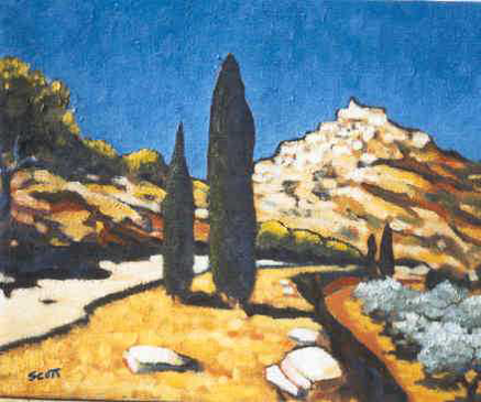 The Road to Gordes (Oil on Canvas)