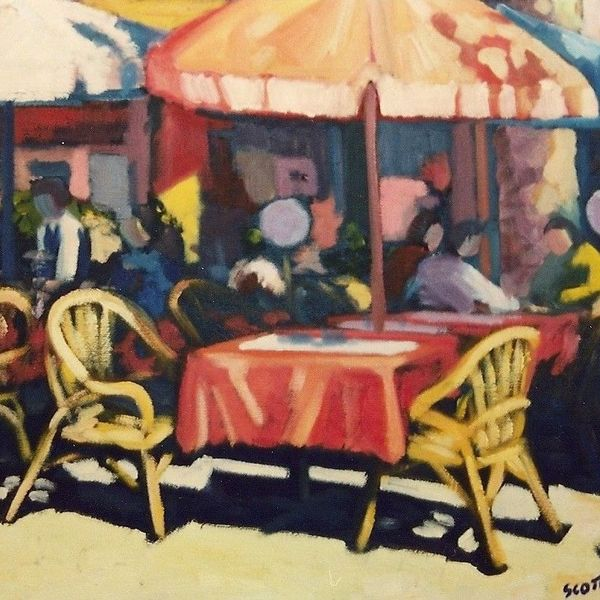 Cafe, Avignon (Oil on Canvas)