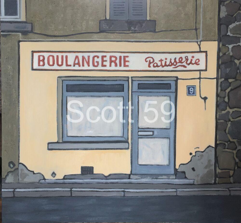 Boulangerie, Solignac sur loire, (Oil & sand on linen, 92 x 97cm)