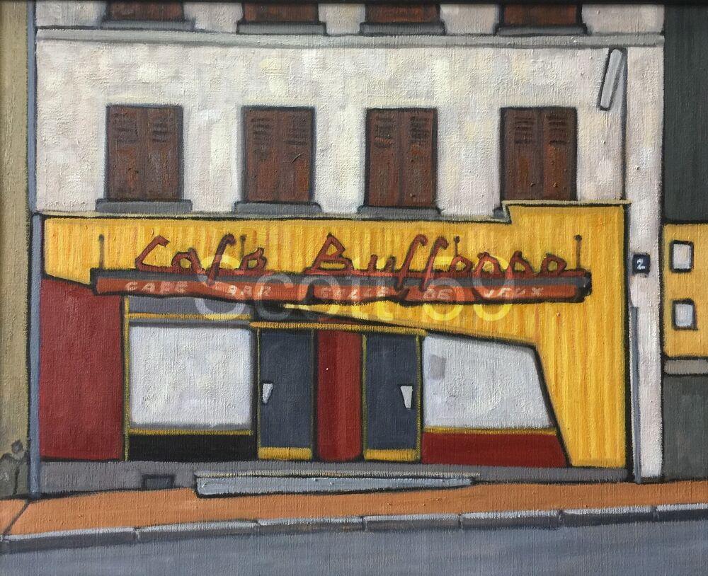 Cafe Bufforno, Craponne sur Arzon (Oil on linen, 65 x 81cm))