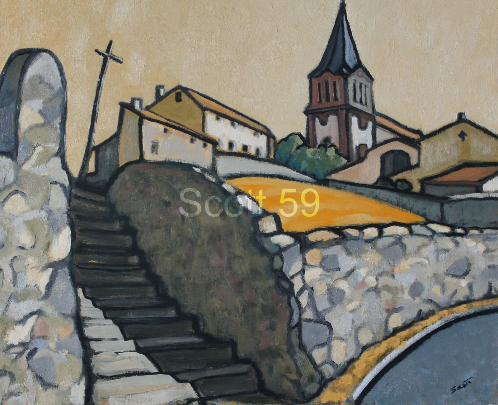 Eglise de la Freyere (Oil on board)