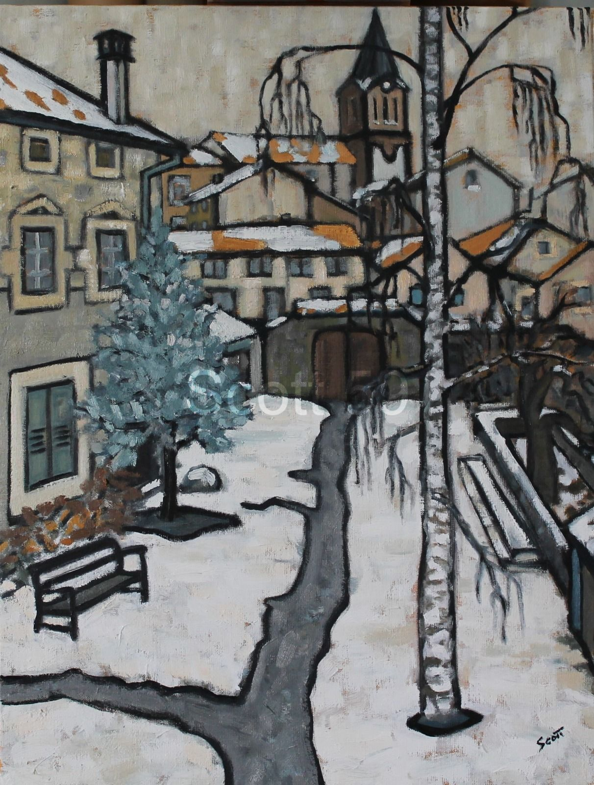 L'Ancienne ecole sous la neige (Oil on canvas) SOLD