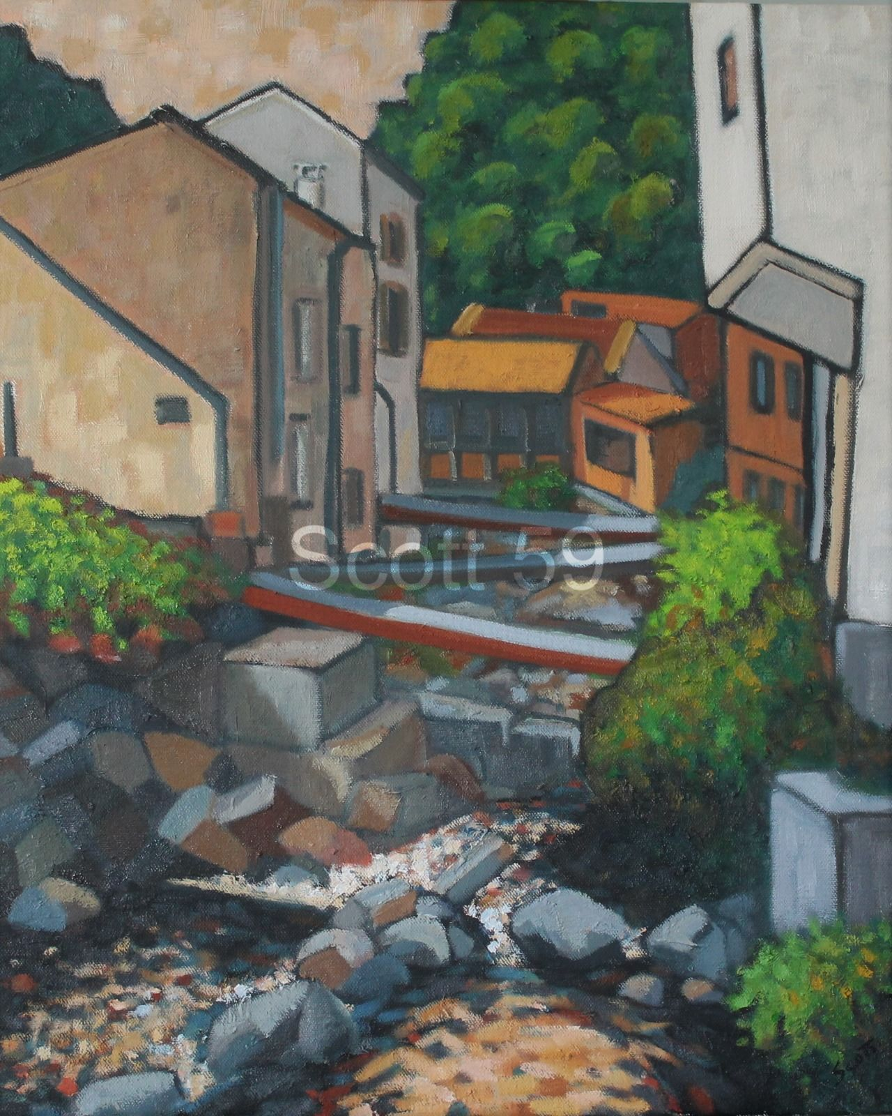 Thiers, Vallee des usines #1 (Oil on canvas 73cm x 60cm)