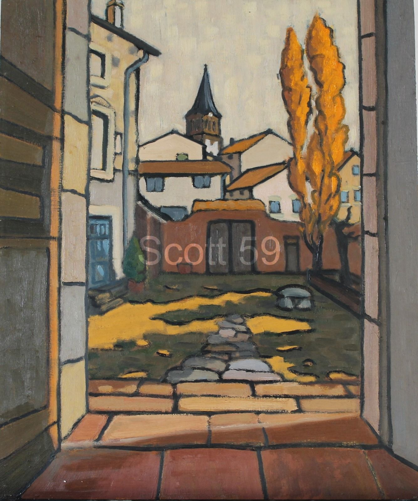 La cour de l'ecole #1 (Oil on board) SOLD