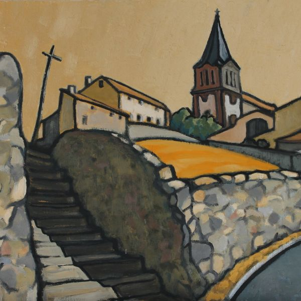 Eglise de la Freyere (Oil on board 61cm x 51cm)