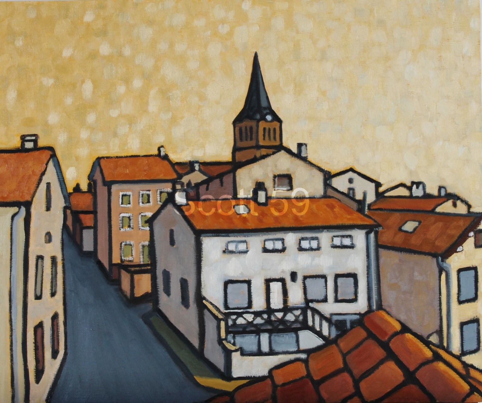 Vernassal de l'ecole (Oil on board 61cm x 51cm)