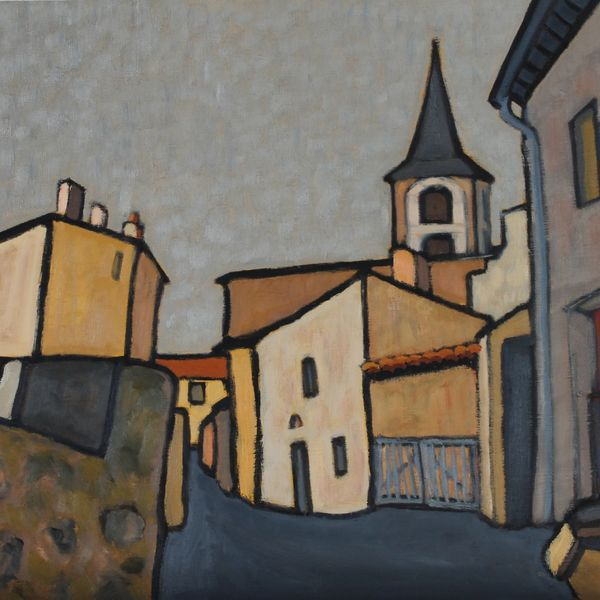 L'eglise d'Allègre (Oil on board 61cm x 51cm)