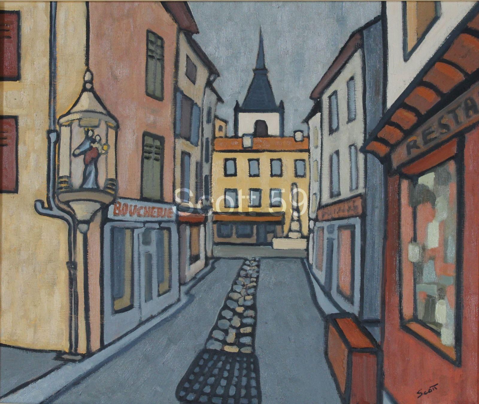 Rue de Sainte-Marie, Craponne-sur-Arzon (Oil on board, 51 x 61cm)