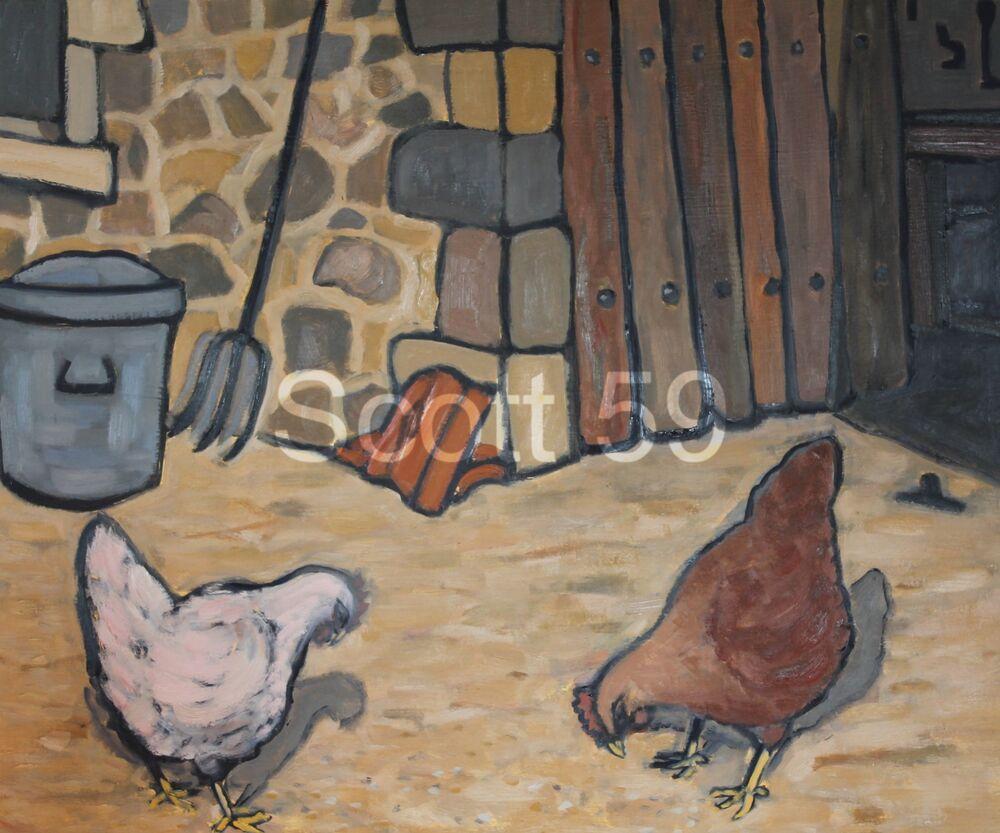 Les poulets (Oil on board, 51 x 61cm)