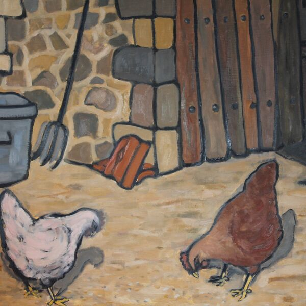 Les poulets (Oil on board, 51 x 61cm)