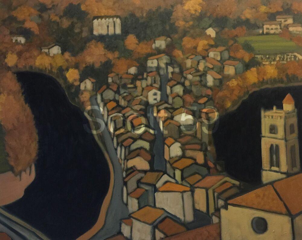 Lavoute Chilhac Etude apres Schiele (Oil on Canvas, 65 x 82cm)