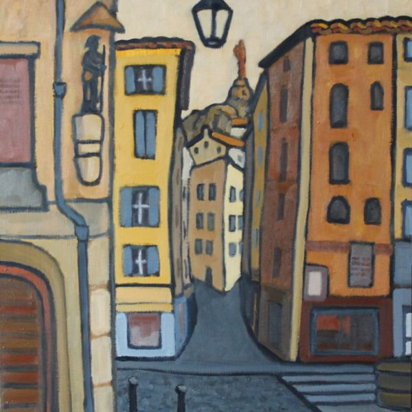 Place Du Plot, Le Puy (Oil on board) SOLD