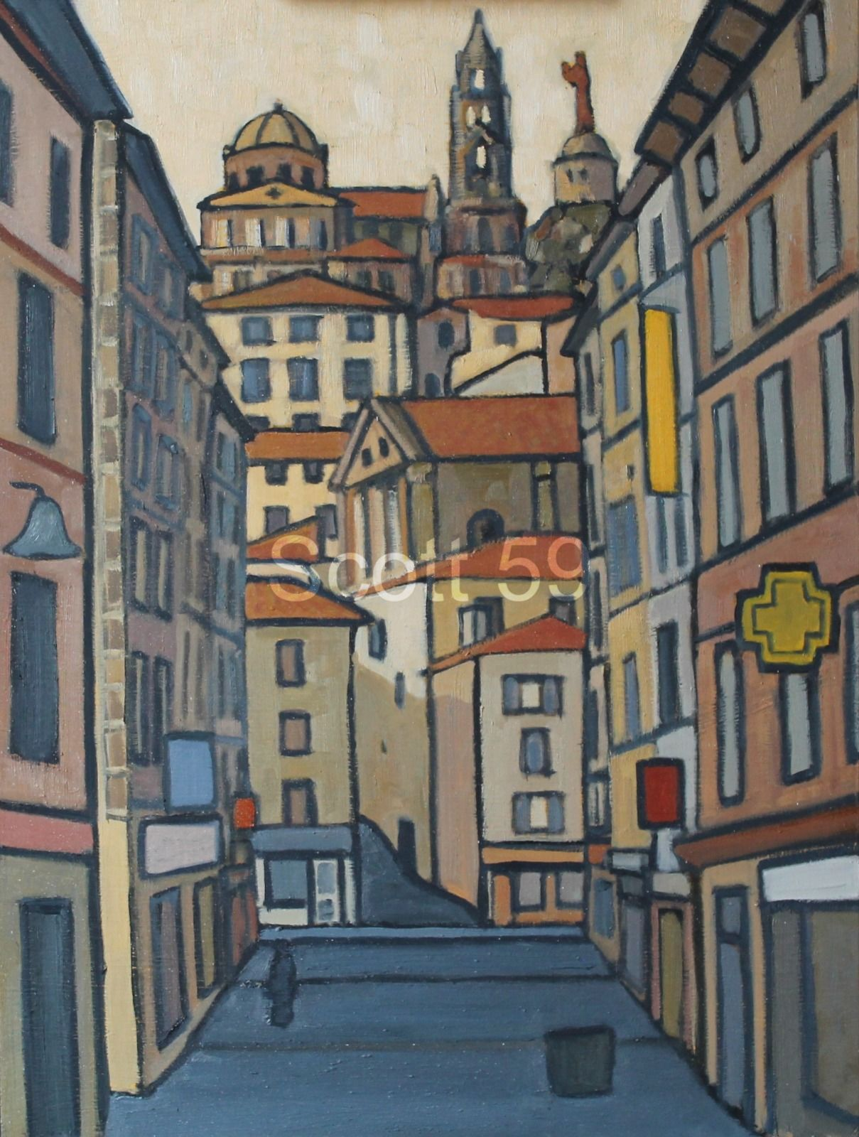 Rue Crozatier, Le Puy (Oil on board 47 x 61cm)
