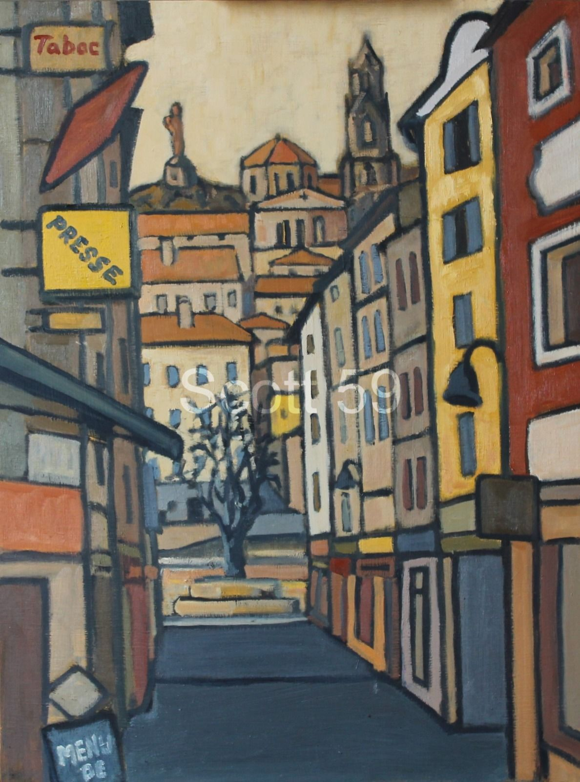 Rue Porte Aiguiere, Le Puy (Oil on board) SOLD