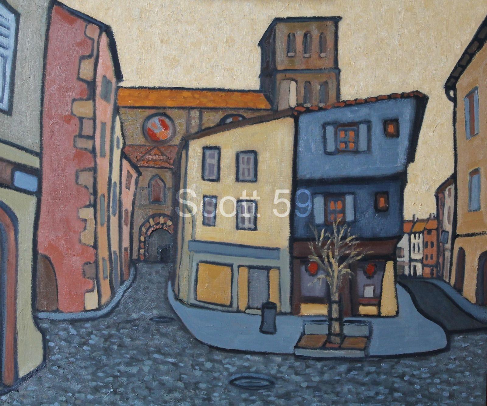 Rue de Chapitre, Brioude (Oil on board 51 x 61cm)
