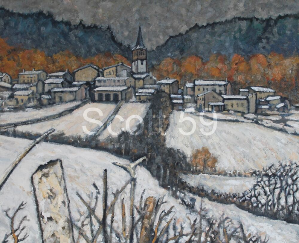 Vernassal sous la neige, (Oil on Canvas) SOLD